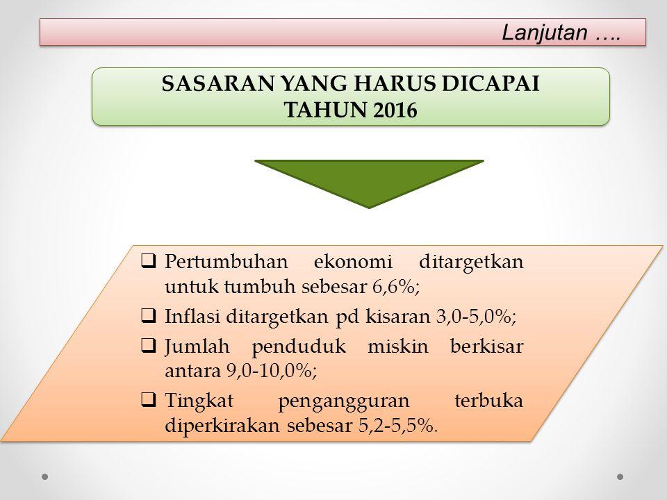  Pertumbuhan ekonomi ditargetkan untuk tumbuh sebesar 6,6%;  Inflasi ditargetkan pd kisaran 3,0-5,0%;  Jumlah penduduk miskin berkisar antara 9,0-10,0%;  Tingkat pengangguran terbuka diperkirakan sebesar 5,2-5,5%.