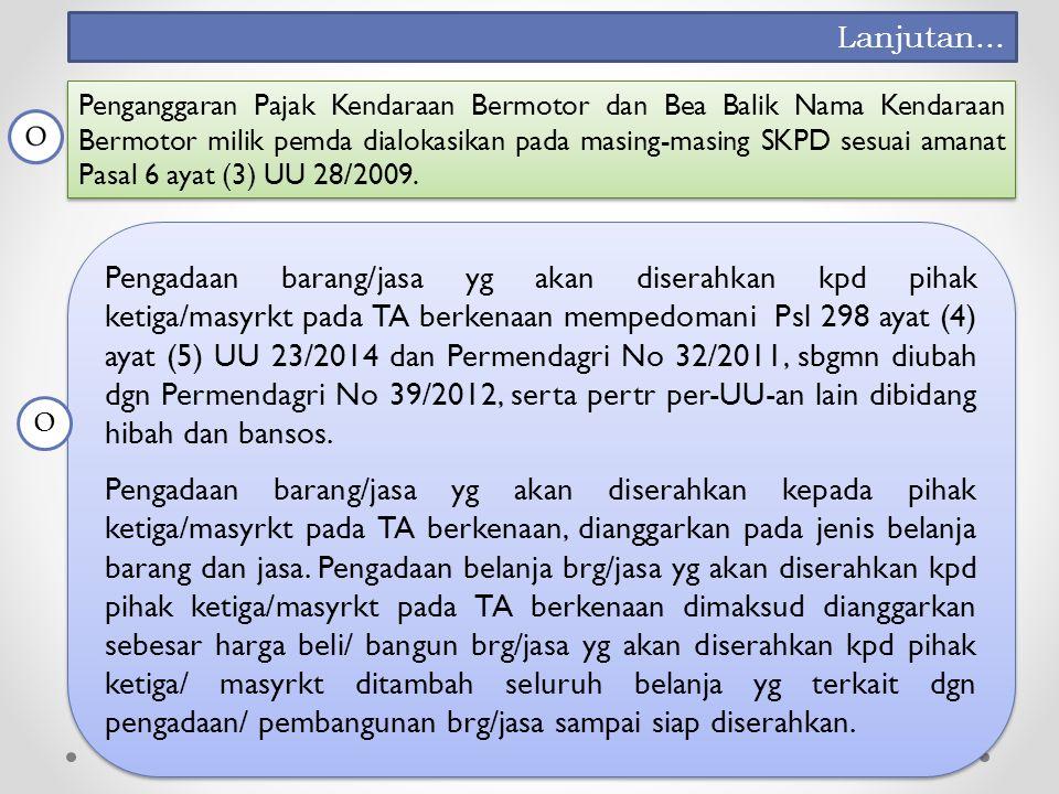 Pengadaan barang/jasa yg akan diserahkan kpd pihak ketiga/masyrkt pada TA berkenaan mempedomani Psl 298 ayat (4) ayat (5) UU 23/2014 dan Permendagri No 32/2011, sbgmn diubah dgn Permendagri No 39/2012, serta pertr per-UU-an lain dibidang hibah dan bansos.