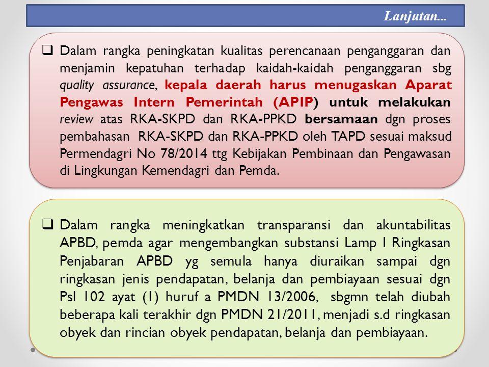  Dalam rangka peningkatan kualitas perencanaan penganggaran dan menjamin kepatuhan terhadap kaidah-kaidah penganggaran sbg quality assurance, kepala daerah harus menugaskan Aparat Pengawas Intern Pemerintah (APIP) untuk melakukan review atas RKA-SKPD dan RKA-PPKD bersamaan dgn proses pembahasan RKA-SKPD dan RKA-PPKD oleh TAPD sesuai maksud Permendagri No 78/2014 ttg Kebijakan Pembinaan dan Pengawasan di Lingkungan Kemendagri dan Pemda.