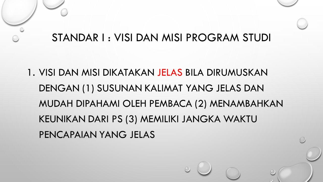 STANDAR I : VISI DAN MISI PROGRAM STUDI 1.VISI DAN MISI DIKATAKAN JELAS BILA DIRUMUSKAN DENGAN (1) SUSUNAN KALIMAT YANG JELAS DAN MUDAH DIPAHAMI OLEH