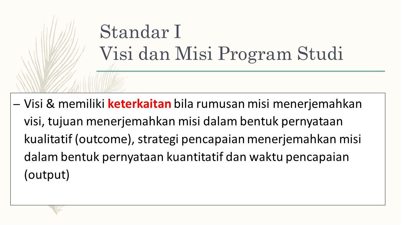 Standar I Visi dan Misi Program Studi – Visi & memiliki keterkaitan bila rumusan misi menerjemahkan visi, tujuan menerjemahkan misi dalam bentuk pernyataan kualitatif (outcome), strategi pencapaian menerjemahkan misi dalam bentuk pernyataan kuantitatif dan waktu pencapaian (output)