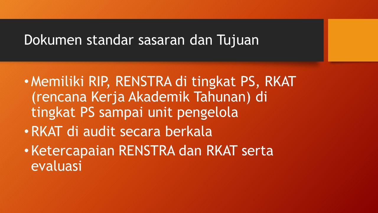 Dokumen standar sasaran dan Tujuan Memiliki RIP, RENSTRA di tingkat PS, RKAT (rencana Kerja Akademik Tahunan) di tingkat PS sampai unit pengelola RKAT di audit secara berkala Ketercapaian RENSTRA dan RKAT serta evaluasi