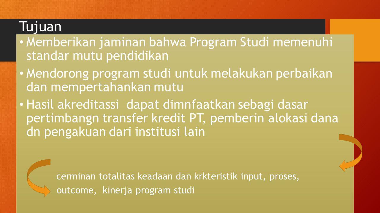 Tujuan Memberikan jaminan bahwa Program Studi memenuhi standar mutu pendidikan Mendorong program studi untuk melakukan perbaikan dan mempertahankan mu
