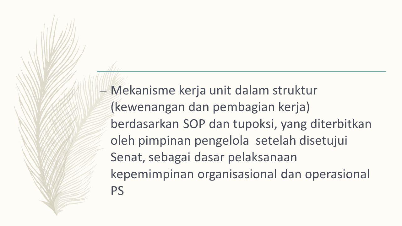 – Mekanisme kerja unit dalam struktur (kewenangan dan pembagian kerja) berdasarkan SOP dan tupoksi, yang diterbitkan oleh pimpinan pengelola setelah disetujui Senat, sebagai dasar pelaksanaan kepemimpinan organisasional dan operasional PS