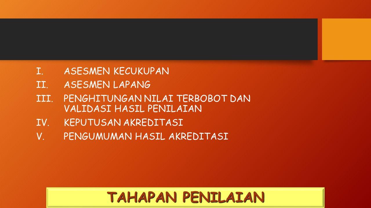 I. ASESMEN KECUKUPAN II. ASESMEN LAPANG III.