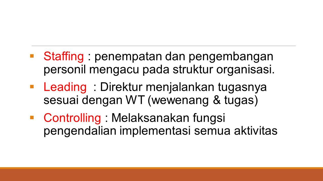  Staffing : penempatan dan pengembangan personil mengacu pada struktur organisasi.  Leading : Direktur menjalankan tugasnya sesuai dengan WT (wewena