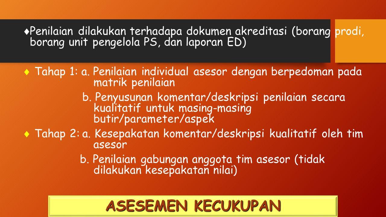  Penilaian dilakukan terhadapa dokumen akreditasi (borang prodi, borang unit pengelola PS, dan laporan ED)  Tahap 1: a.