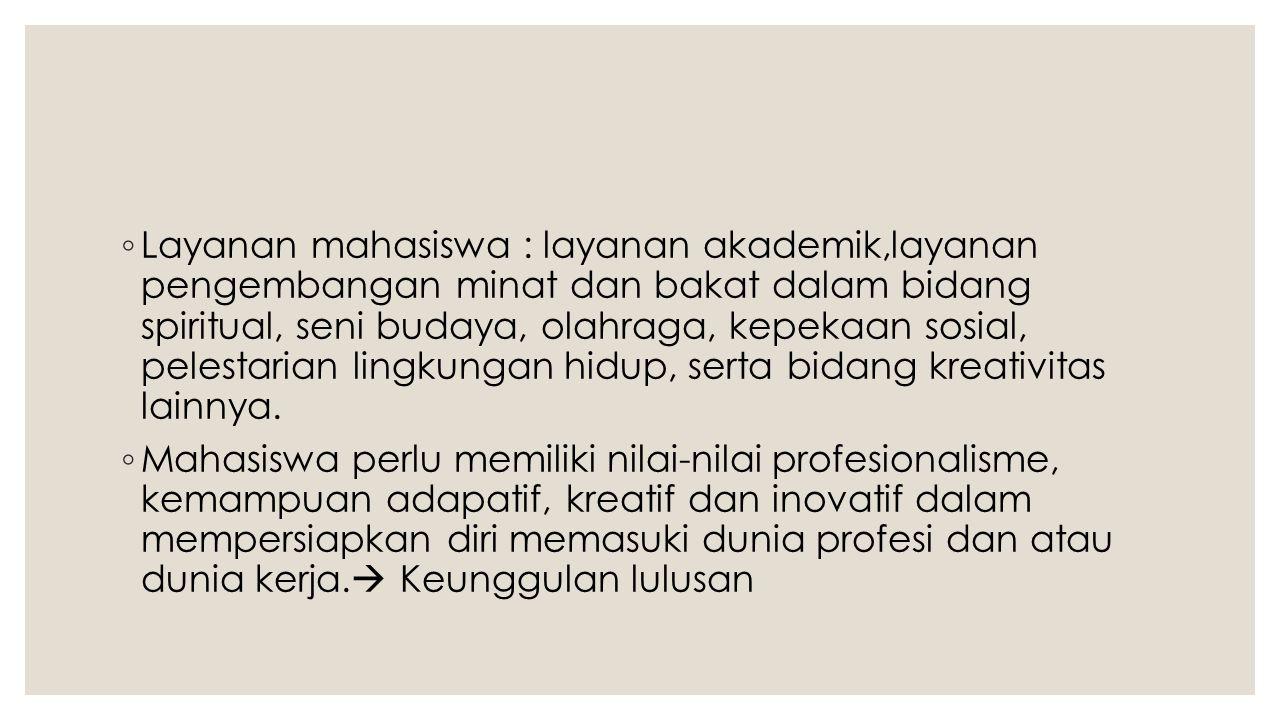 ◦ Layanan mahasiswa : layanan akademik,layanan pengembangan minat dan bakat dalam bidang spiritual, seni budaya, olahraga, kepekaan sosial, pelestaria