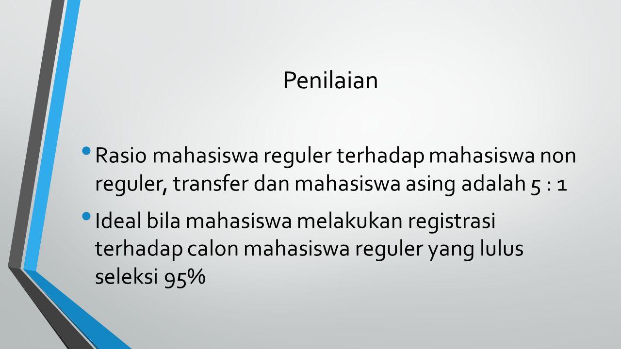 Penilaian Rasio mahasiswa reguler terhadap mahasiswa non reguler, transfer dan mahasiswa asing adalah 5 : 1 Ideal bila mahasiswa melakukan registrasi