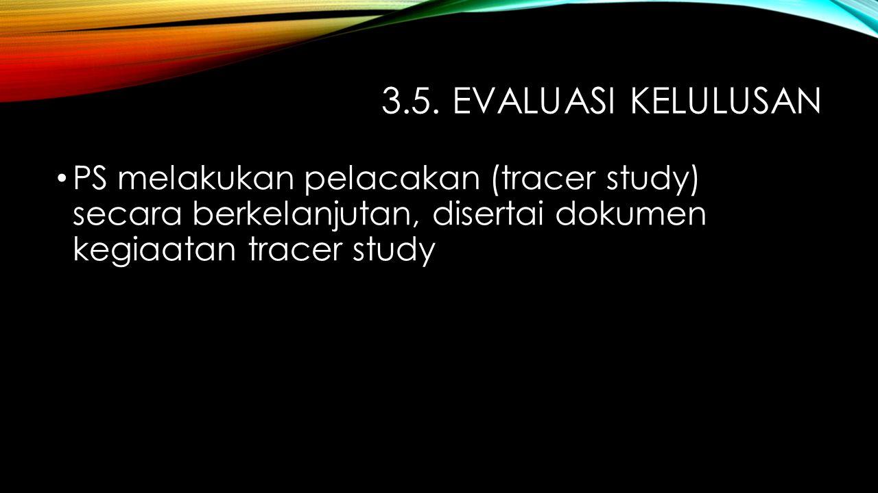 3.5. EVALUASI KELULUSAN PS melakukan pelacakan (tracer study) secara berkelanjutan, disertai dokumen kegiaatan tracer study