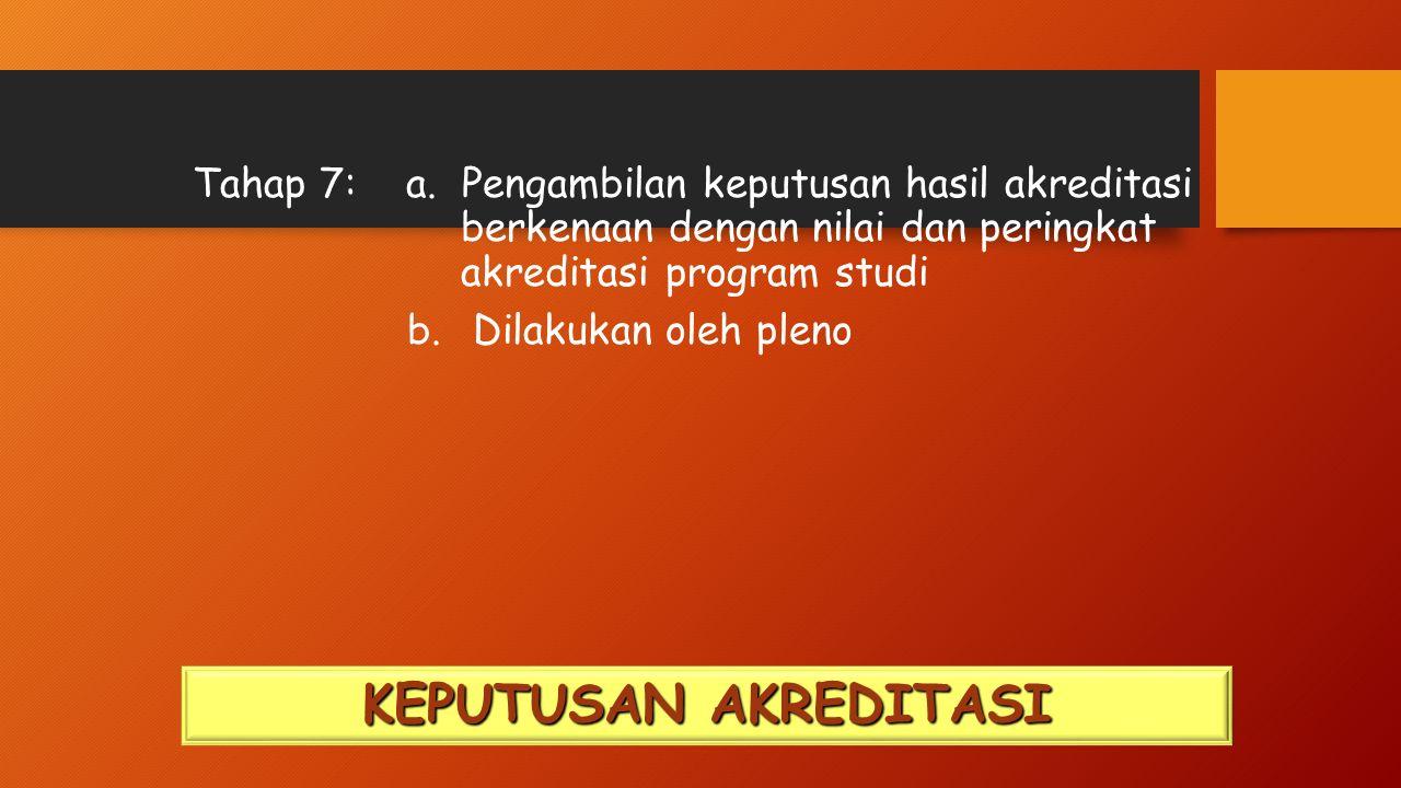 Tahap 7: a. Pengambilan keputusan hasil akreditasi berkenaan dengan nilai dan peringkat akreditasi program studi b. Dilakukan oleh pleno KEPUTUSAN AKR