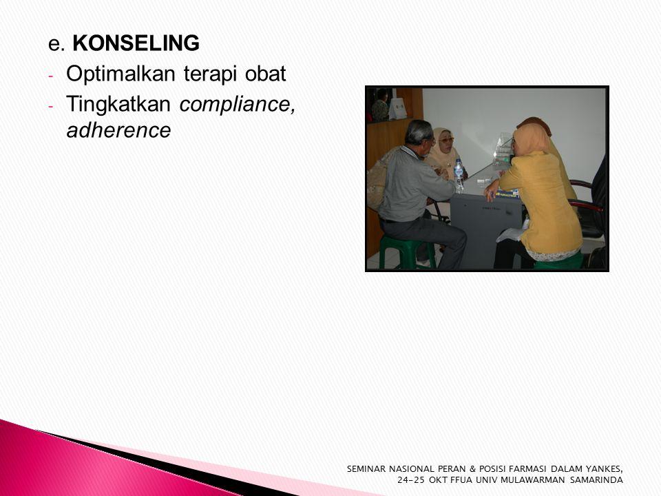 e. KONSELING - Optimalkan terapi obat - Tingkatkan compliance, adherence SEMINAR NASIONAL PERAN & POSISI FARMASI DALAM YANKES, 24-25 OKT FFUA UNIV MUL