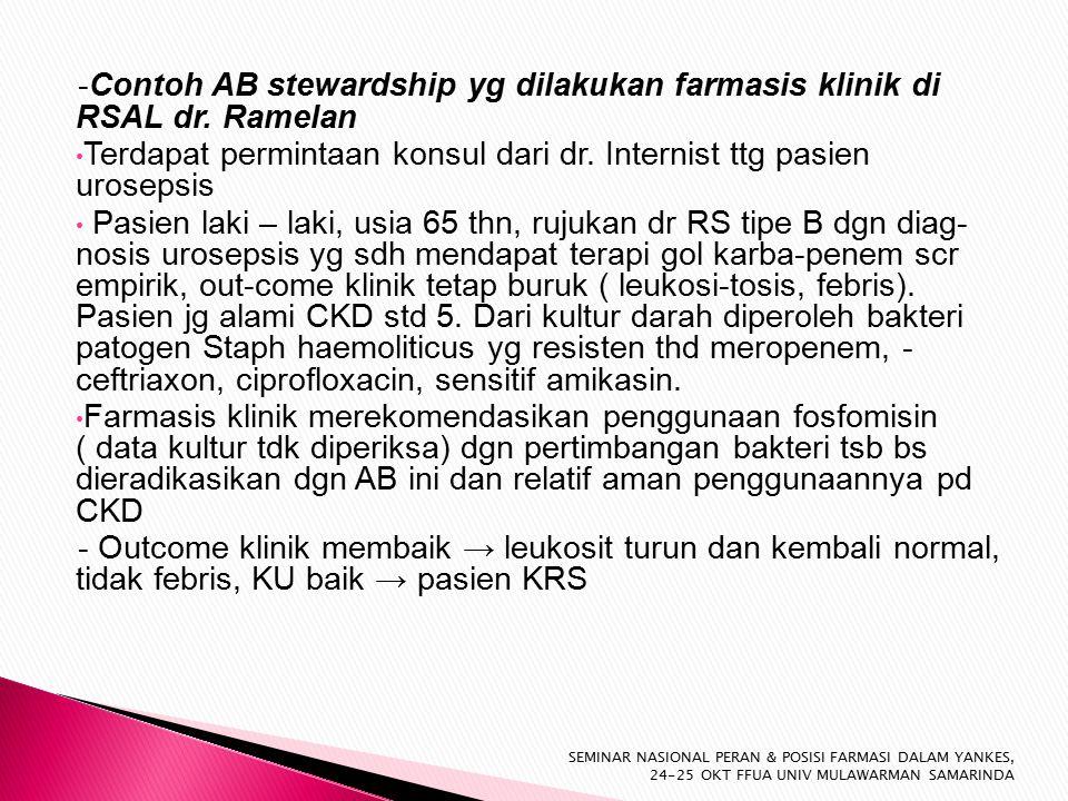 -Contoh AB stewardship yg dilakukan farmasis klinik di RSAL dr.