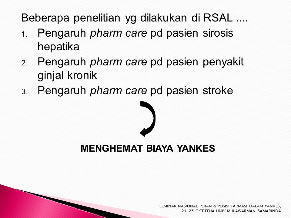 Beberapa penelitian yg dilakukan di RSAL.... 1. Pengaruh pharm care pd pasien sirosis hepatika 2.