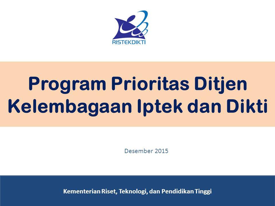 Program Prioritas Ditjen Kelembagaan Iptek dan Dikti Kementerian Riset, Teknologi, dan Pendidikan Tinggi Desember 2015