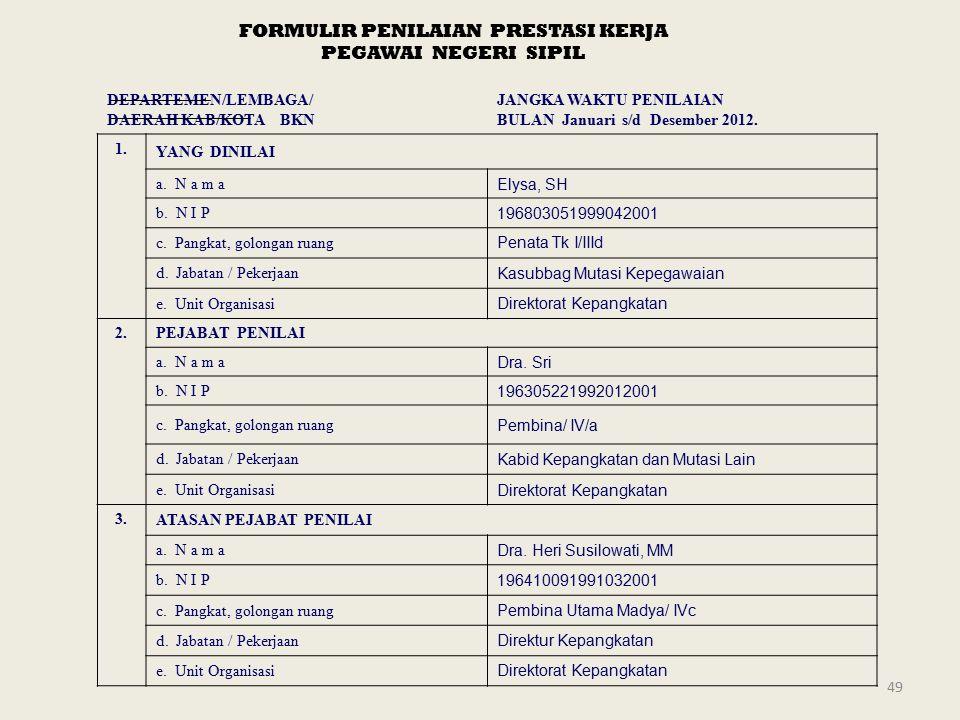 49 FORMULIR PENILAIAN PRESTASI KERJA PEGAWAI NEGERI SIPIL DEPARTEMEN/LEMBAGA/ DAERAH KAB/KOTA BKN JANGKA WAKTU PENILAIAN BULAN Januari s/d Desember 2012.