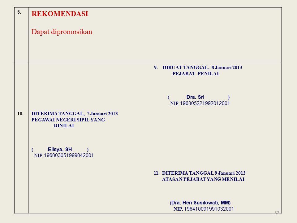 8. REKOMENDASI Dapat dipromosikan 9. DIBUAT TANGGAL, 8 Januari 2013 PEJABAT PENILAI ( Dra.