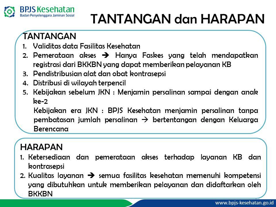 www.bpjs-kesehatan.go.id 34 TANTANGAN dan HARAPAN TANTANGAN 1.Validitas data Fasilitas Kesehatan 2.Pemerataan akses  Hanya Faskes yang telah mendapatkan registrasi dari BKKBN yang dapat memberikan pelayanan KB 3.Pendistribusian alat dan obat kontrasepsi 4.Distribusi di wilayah terpencil 5.Kebijakan sebelum JKN : Menjamin persalinan sampai dengan anak ke-2 Kebijakan era JKN : BPJS Kesehatan menjamin persalinan tanpa pembatasan jumlah persalinan  bertentangan dengan Keluarga Berencana HARAPAN 1.Ketersediaan dan pemerataan akses terhadap layanan KB dan kontrasepsi 2.Kualitas layanan  semua fasilitas kesehatan memenuhi kompetensi yang dibutuhkan untuk memberikan pelayanan dan didaftarkan oleh BKKBN