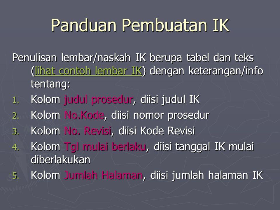 Panduan Pembuatan IK Penulisan lembar/naskah IK berupa tabel dan teks (lihat contoh lembar IK) dengan keterangan/info tentang: lihat contoh lembar IKlihat contoh lembar IK 1.