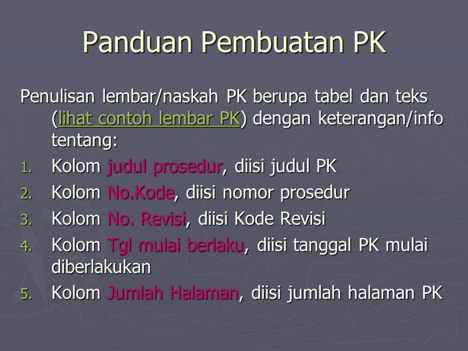 Panduan Pembuatan PK Penulisan lembar/naskah PK berupa tabel dan teks (lihat contoh lembar PK) dengan keterangan/info tentang: lihat contoh lembar PKlihat contoh lembar PK 1.
