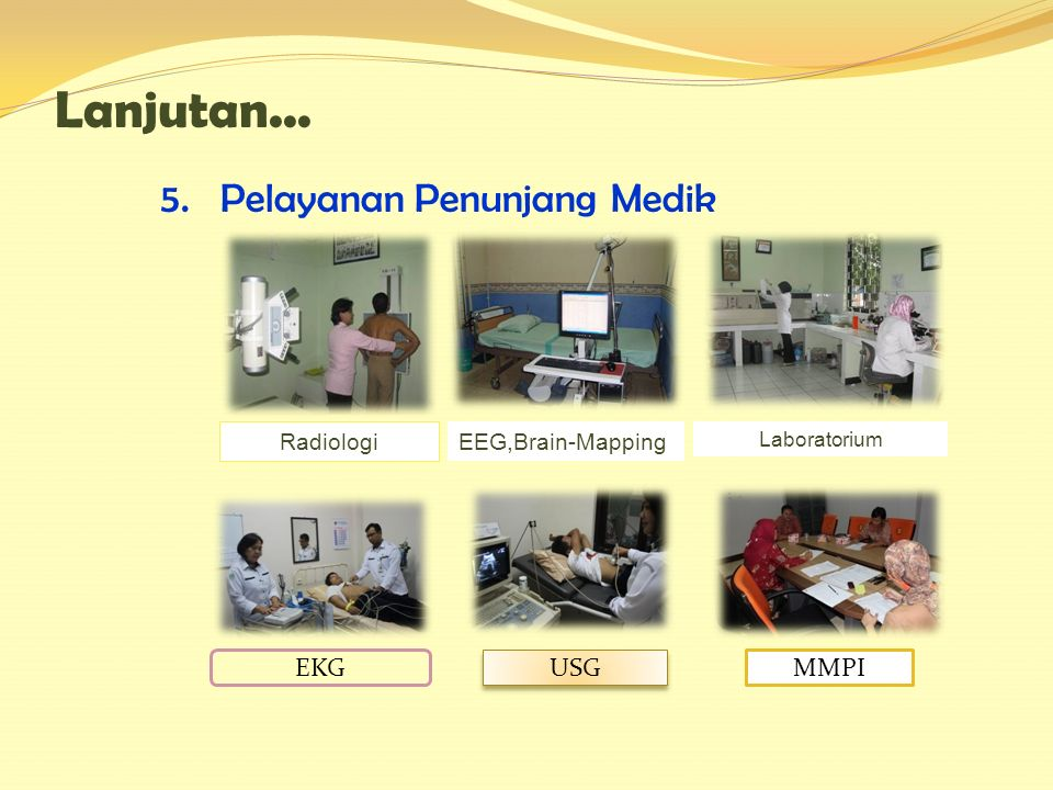 5. Pelayanan Penunjang Medik Lanjutan... Radiologi EEG,Brain-Mapping Laboratorium EKG USG MMPI