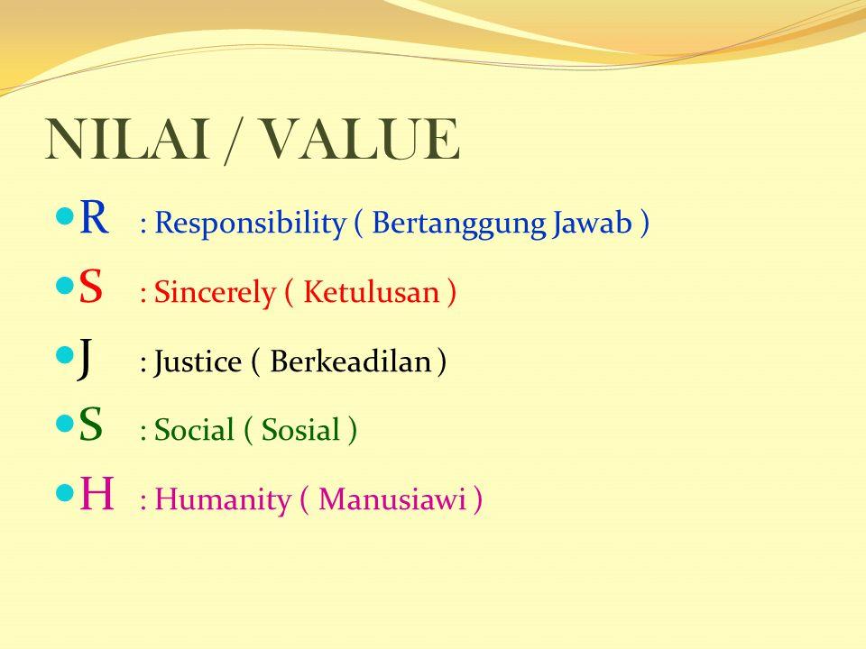 NILAI / VALUE R : Responsibility ( Bertanggung Jawab ) S : Sincerely ( Ketulusan ) J : Justice ( Berkeadilan ) S : Social ( Sosial ) H : Humanity ( Manusiawi )