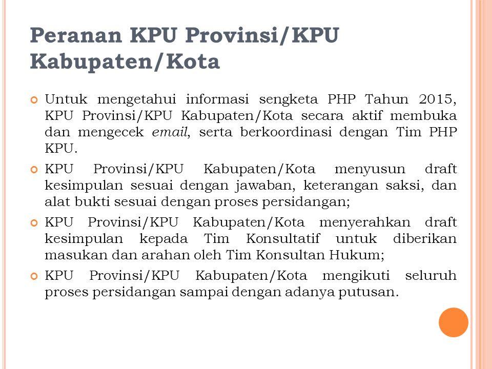 Konsultan Hukum Tim yang berfungsi untuk memberikan pelayanan berupa konsultasi hukum kepada KPU Provinsi/KIP Aceh dan KPU/KIP Kabupaten/Kota selama tahapan penyelesaian perselisihan hasil pemilihan Gubernur dan Wakil Gubernur, Bupati dan Wakil Bupati, dan/atau Walikota dan Wakil Walikota.