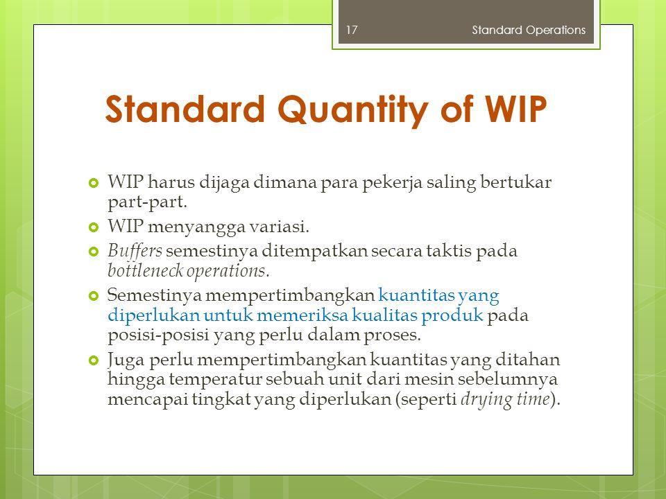 Standard Quantity of WIP  WIP harus dijaga dimana para pekerja saling bertukar part-part.