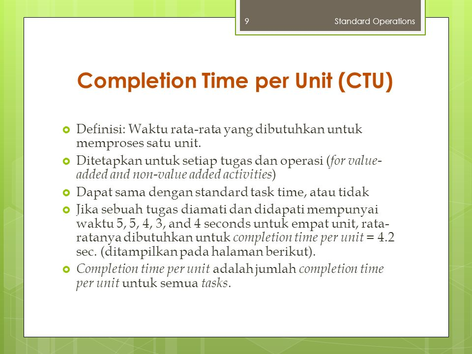 Completion Time per Unit Standard Operations10