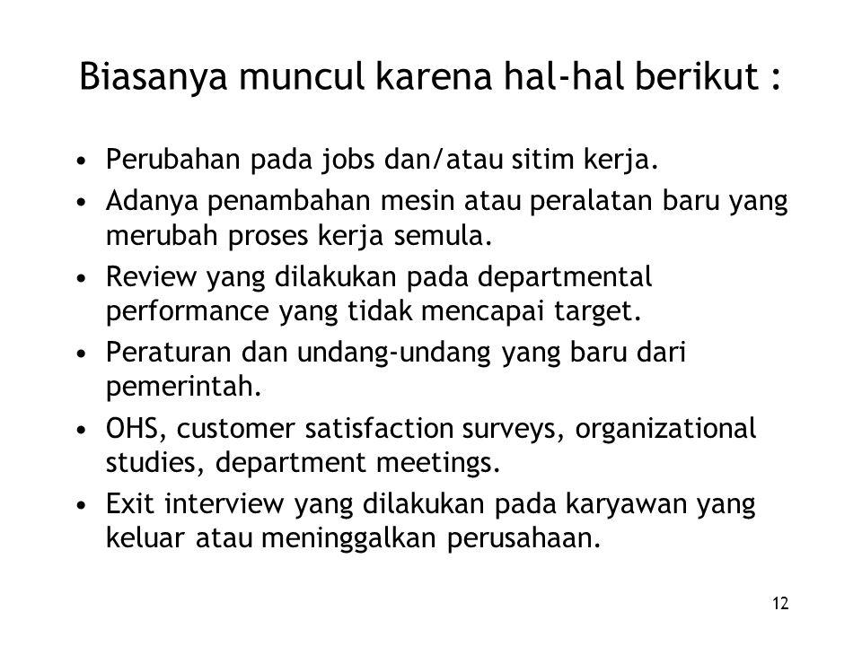12 Biasanya muncul karena hal-hal berikut : Perubahan pada jobs dan/atau sitim kerja. Adanya penambahan mesin atau peralatan baru yang merubah proses