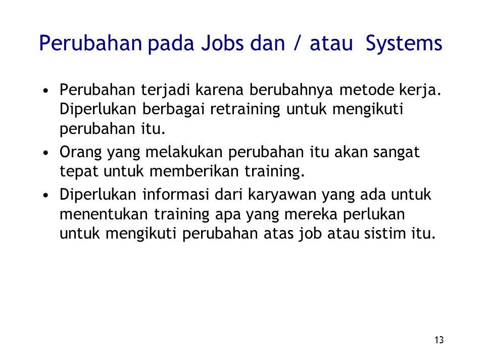 13 Perubahan pada Jobs dan / atau Systems Perubahan terjadi karena berubahnya metode kerja. Diperlukan berbagai retraining untuk mengikuti perubahan i
