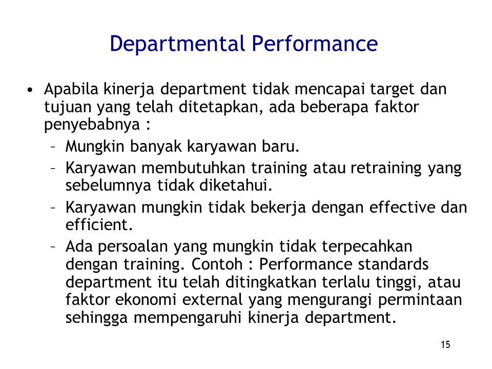 15 Departmental Performance Apabila kinerja department tidak mencapai target dan tujuan yang telah ditetapkan, ada beberapa faktor penyebabnya : –Mung