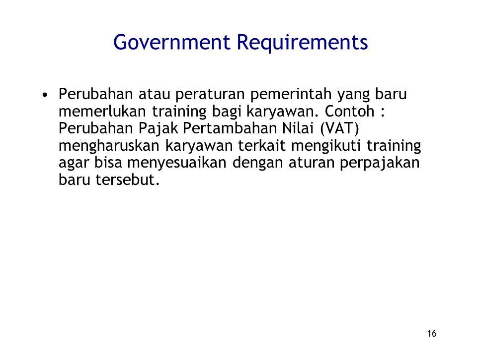 16 Government Requirements Perubahan atau peraturan pemerintah yang baru memerlukan training bagi karyawan. Contoh : Perubahan Pajak Pertambahan Nilai