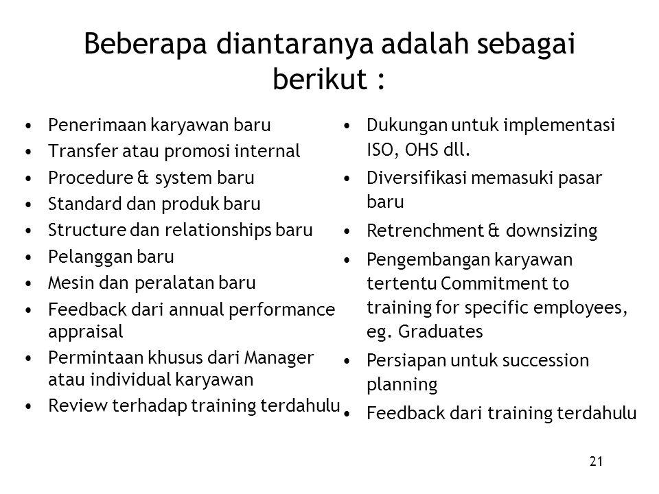 21 Beberapa diantaranya adalah sebagai berikut : Penerimaan karyawan baru Transfer atau promosi internal Procedure & system baru Standard dan produk b