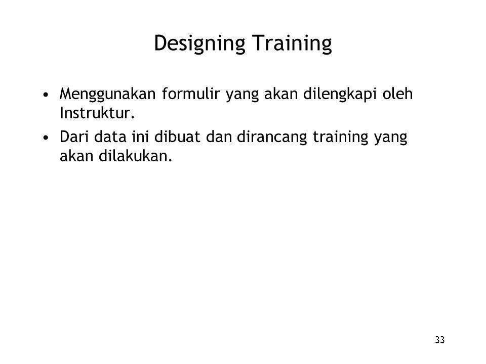 33 Designing Training Menggunakan formulir yang akan dilengkapi oleh Instruktur. Dari data ini dibuat dan dirancang training yang akan dilakukan.