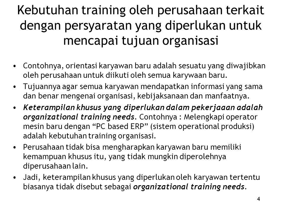 4 Kebutuhan training oleh perusahaan terkait dengan persyaratan yang diperlukan untuk mencapai tujuan organisasi Contohnya, orientasi karyawan baru adalah sesuatu yang diwajibkan oleh perusahaan untuk diikuti oleh semua karywaan baru.