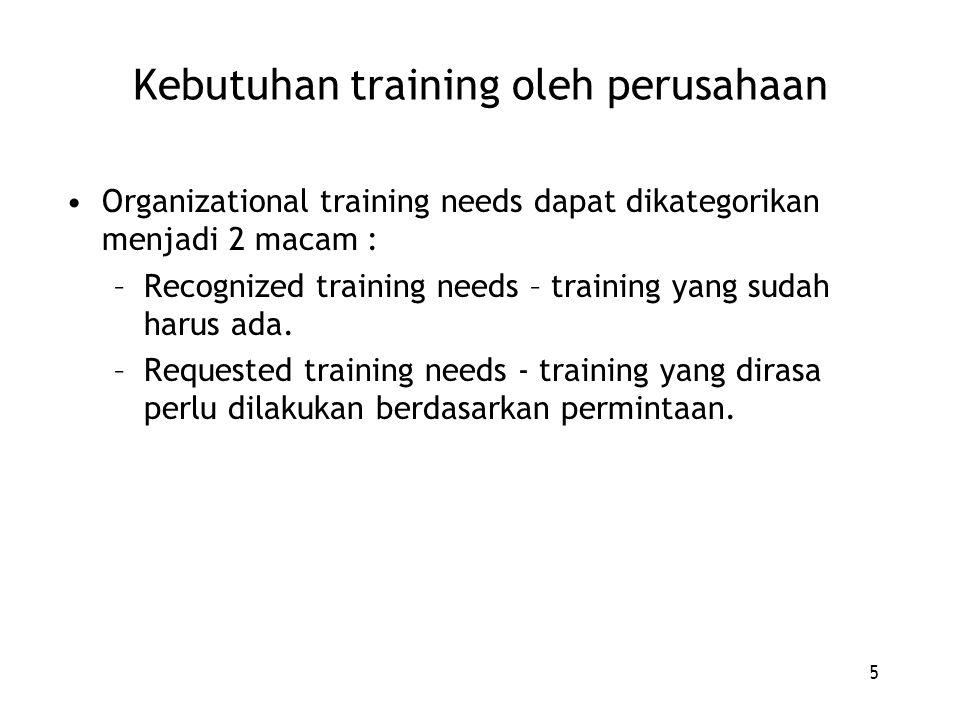 5 Kebutuhan training oleh perusahaan Organizational training needs dapat dikategorikan menjadi 2 macam : –Recognized training needs – training yang su