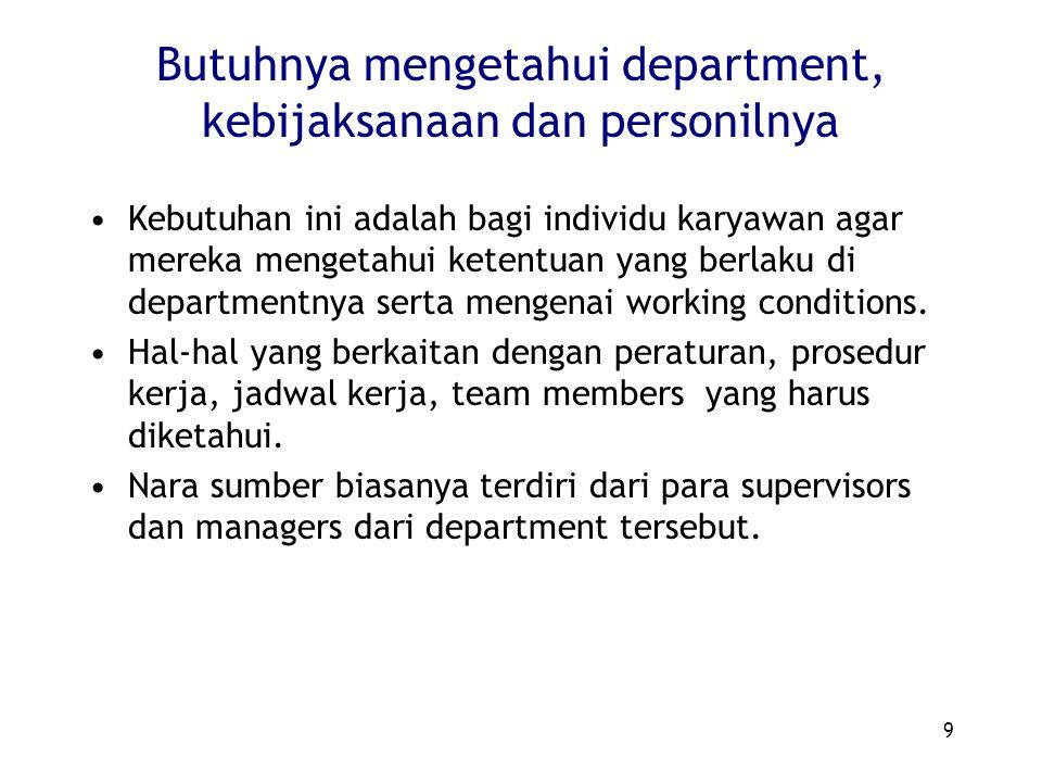 9 Butuhnya mengetahui department, kebijaksanaan dan personilnya Kebutuhan ini adalah bagi individu karyawan agar mereka mengetahui ketentuan yang berl