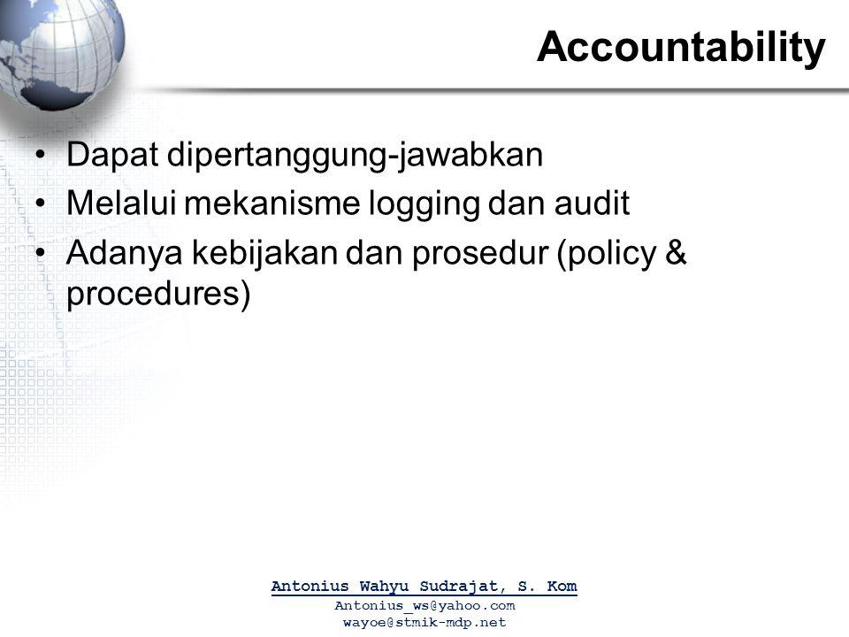Accountability Dapat dipertanggung-jawabkan Melalui mekanisme logging dan audit Adanya kebijakan dan prosedur (policy & procedures) Antonius Wahyu Sudrajat, S.