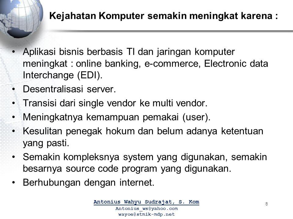 Kejahatan Komputer semakin meningkat karena : Aplikasi bisnis berbasis TI dan jaringan komputer meningkat : online banking, e-commerce, Electronic data Interchange (EDI).