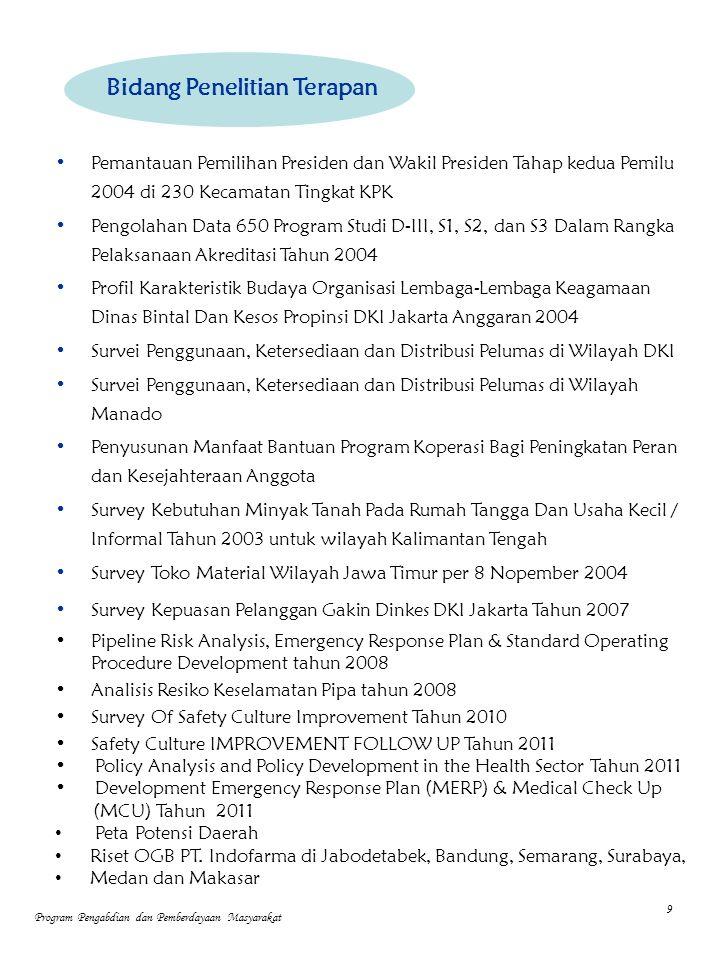 Pemantauan Pemilihan Presiden dan Wakil Presiden Tahap kedua Pemilu 2004 di 230 Kecamatan Tingkat KPK Pengolahan Data 650 Program Studi D-III, S1, S2, dan S3 Dalam Rangka Pelaksanaan Akreditasi Tahun 2004 Profil Karakteristik Budaya Organisasi Lembaga-Lembaga Keagamaan Dinas Bintal Dan Kesos Propinsi DKI Jakarta Anggaran 2004 Survei Penggunaan, Ketersediaan dan Distribusi Pelumas di Wilayah DKI Survei Penggunaan, Ketersediaan dan Distribusi Pelumas di Wilayah Manado Penyusunan Manfaat Bantuan Program Koperasi Bagi Peningkatan Peran dan Kesejahteraan Anggota Survey Kebutuhan Minyak Tanah Pada Rumah Tangga Dan Usaha Kecil / Informal Tahun 2003 untuk wilayah Kalimantan Tengah Survey Toko Material Wilayah Jawa Timur per 8 Nopember 2004 Survey Kepuasan Pelanggan Gakin Dinkes DKI Jakarta Tahun 2007 Pipeline Risk Analysis, Emergency Response Plan & Standard Operating Procedure Development tahun 2008 Analisis Resiko Keselamatan Pipa tahun 2008 Survey Of Safety Culture Improvement Tahun 2010 Safety Culture IMPROVEMENT FOLLOW UP Tahun 2011 Policy Analysis and Policy Development in the Health Sector Tahun 2011 Development Emergency Response Plan (MERP) & Medical Check Up (MCU) Tahun 2011 Peta Potensi Daerah Riset OGB PT.