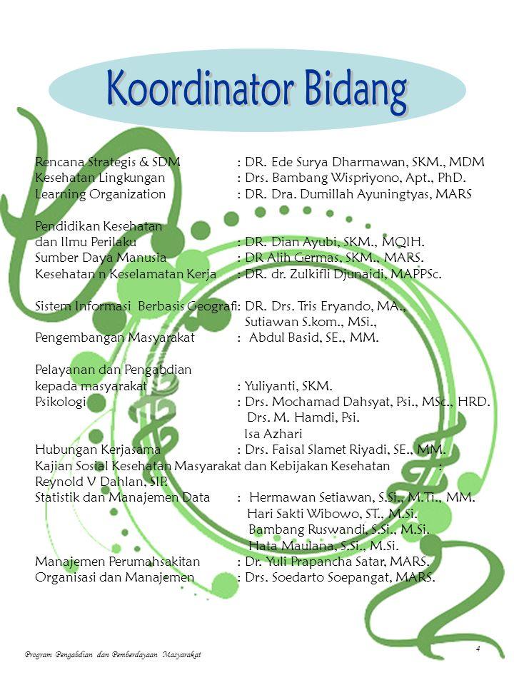 Rencana Strategis & SDM: DR. Ede Surya Dharmawan, SKM., MDM Kesehatan Lingkungan : Drs.