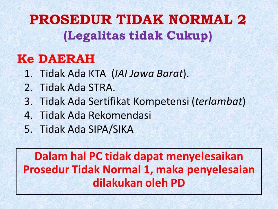 PROSEDUR TIDAK NORMAL 2 (Legalitas tidak Cukup) 1.Tidak Ada KTA (IAI Jawa Barat).