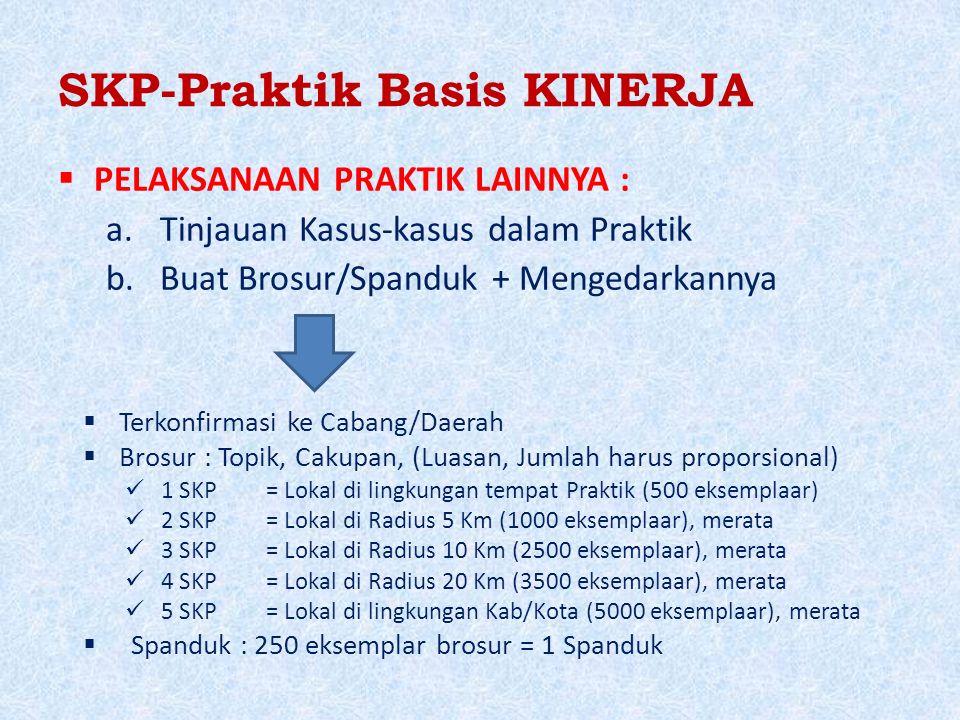 SKP-Praktik Basis KINERJA  PELAKSANAAN PRAKTIK LAINNYA : a.Tinjauan Kasus-kasus dalam Praktik b.Buat Brosur/Spanduk + Mengedarkannya  Terkonfirmasi ke Cabang/Daerah  Brosur : Topik, Cakupan, (Luasan, Jumlah harus proporsional) 1 SKP= Lokal di lingkungan tempat Praktik (500 eksemplaar) 2 SKP= Lokal di Radius 5 Km (1000 eksemplaar), merata 3 SKP= Lokal di Radius 10 Km (2500 eksemplaar), merata 4 SKP= Lokal di Radius 20 Km (3500 eksemplaar), merata 5 SKP= Lokal di lingkungan Kab/Kota (5000 eksemplaar), merata  Spanduk : 250 eksemplar brosur = 1 Spanduk