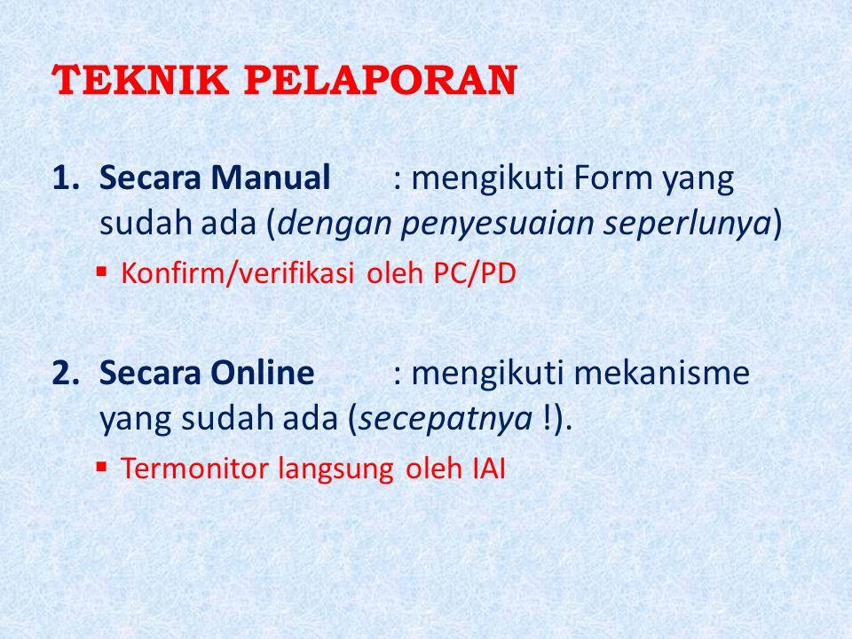 TEKNIK PELAPORAN 1.Secara Manual: mengikuti Form yang sudah ada (dengan penyesuaian seperlunya)  Konfirm/verifikasi oleh PC/PD 2.Secara Online: mengi