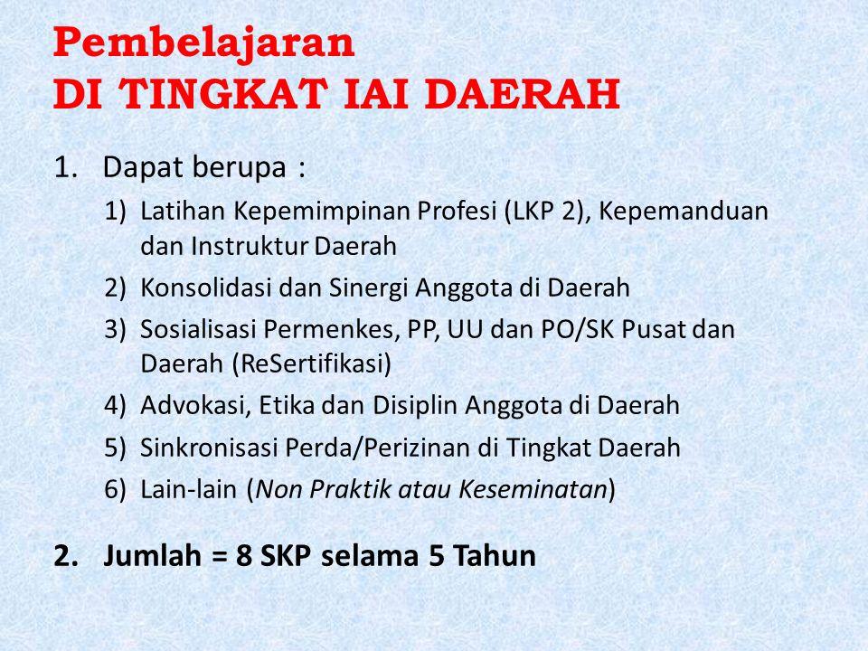 Pembelajaran DI TINGKAT IAI DAERAH 1.Dapat berupa : 1)Latihan Kepemimpinan Profesi (LKP 2), Kepemanduan dan Instruktur Daerah 2)Konsolidasi dan Sinergi Anggota di Daerah 3)Sosialisasi Permenkes, PP, UU dan PO/SK Pusat dan Daerah (ReSertifikasi) 4)Advokasi, Etika dan Disiplin Anggota di Daerah 5)Sinkronisasi Perda/Perizinan di Tingkat Daerah 6)Lain-lain (Non Praktik atau Keseminatan) 2.Jumlah = 8 SKP selama 5 Tahun