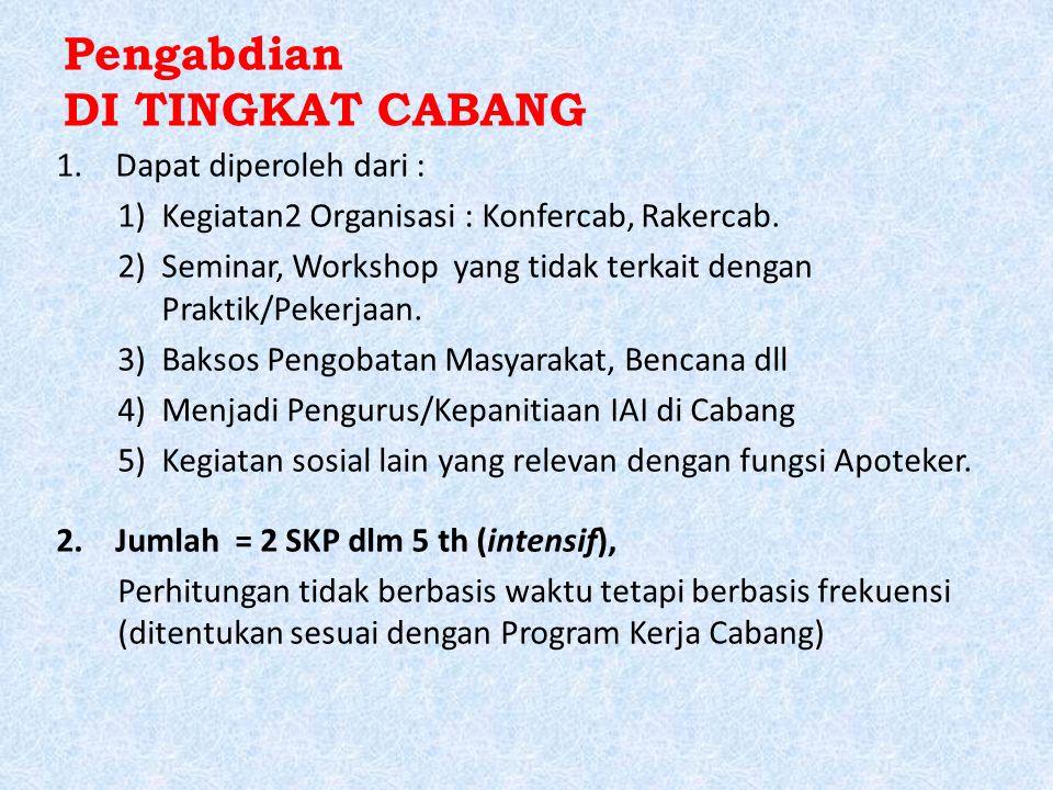 Pengabdian DI TINGKAT CABANG 1.Dapat diperoleh dari : 1)Kegiatan2 Organisasi : Konfercab, Rakercab. 2)Seminar, Workshop yang tidak terkait dengan Prak