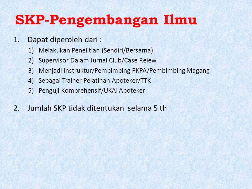 SKP-Pengembangan Ilmu 1.Dapat diperoleh dari : 1)Melakukan Penelitian (Sendiri/Bersama) 2)Supervisor Dalam Jurnal Club/Case Reiew 3)Menjadi Instruktur/Pembimbing PKPA/Pembimbing Magang 4)Sebagai Trainer Pelatihan Apoteker/TTK 5)Penguji Komprehensif/UKAI Apoteker 2.Jumlah SKP tidak ditentukan selama 5 th