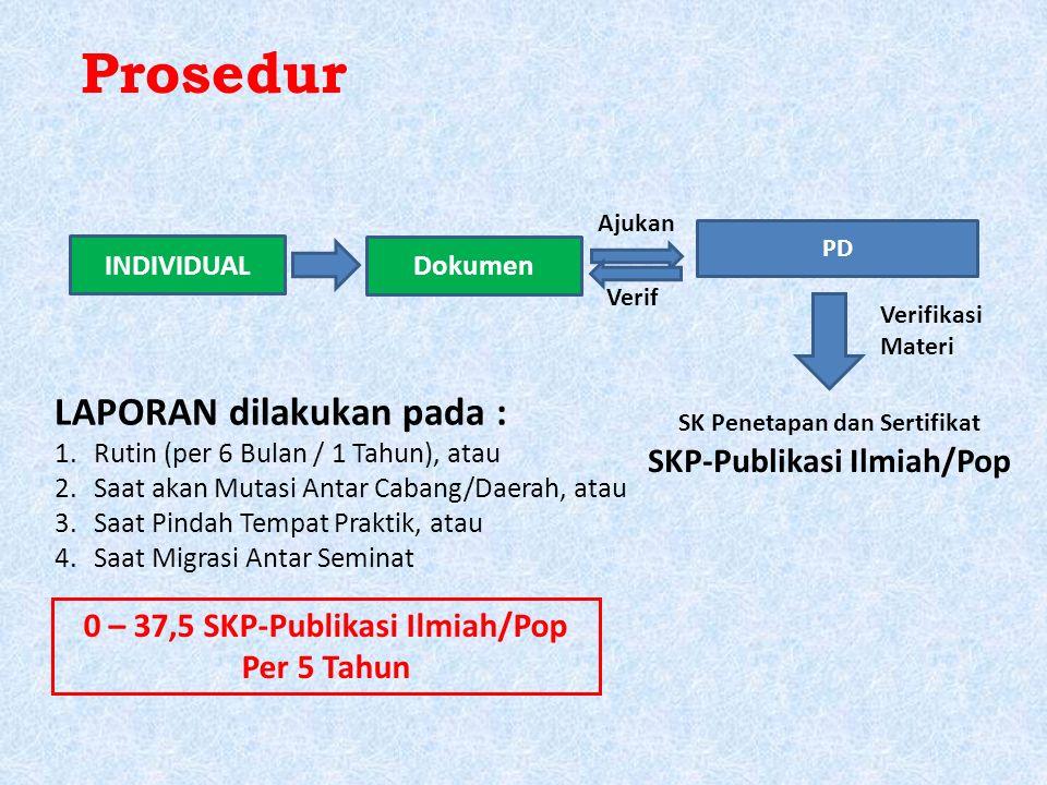 Prosedur INDIVIDUAL Dokumen PD Verif Ajukan SK Penetapan dan Sertifikat SKP-Publikasi Ilmiah/Pop LAPORAN dilakukan pada : 1.Rutin (per 6 Bulan / 1 Tahun), atau 2.Saat akan Mutasi Antar Cabang/Daerah, atau 3.Saat Pindah Tempat Praktik, atau 4.Saat Migrasi Antar Seminat 0 – 37,5 SKP-Publikasi Ilmiah/Pop Per 5 Tahun Verifikasi Materi