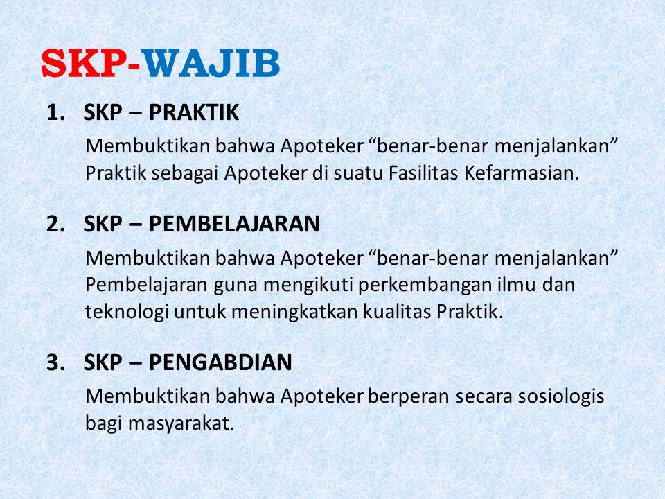 """SKP-WAJIB 1.SKP – PRAKTIK Membuktikan bahwa Apoteker """"benar-benar menjalankan"""" Praktik sebagai Apoteker di suatu Fasilitas Kefarmasian. 2.SKP – PEMBEL"""